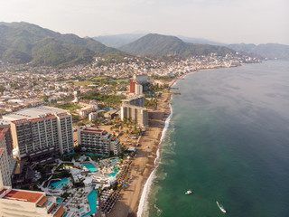 Aerial photos of the pier knows as Playa Los Muertos pier in the beautiful town of Puerto Vallarta in Mexico, the town is on the Pacific coast in the state known as Jalisco