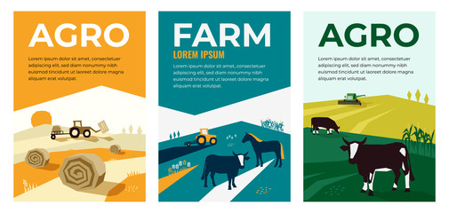 Set of vectors with agriculture, farming, livestock, harvest. Illustrations of a tractor, hayfield, haystack rolls, farm animals, cows in pasture, combine harvester. Template for banner,poster, prints Fototapete