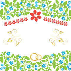 decorated space for text with two golden rings and floral decor