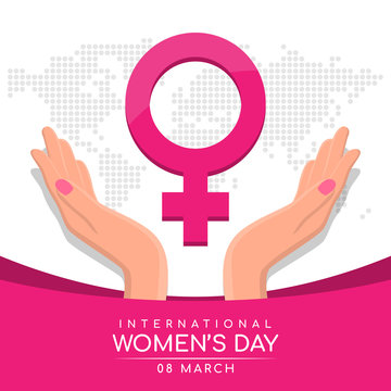 international women day with woman's hand hold care pink female Symbol on abstract dot world map texture background vector design