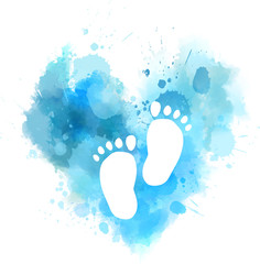 Blue watercolor heart with baby footprints