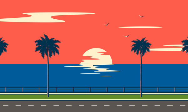 Trip on road to sea. Sunset summer tropical beach with palm trees and sea. Nature landscape and seascape.