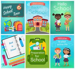 Back to School card design set, pupils kids, school supplies equipment. Education template vector illustration.