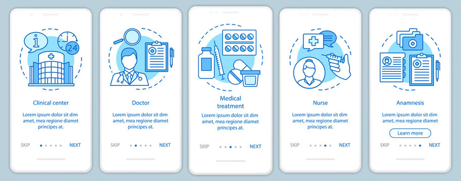 Medicine and healthcare onboarding mobile app page screen with linear concepts. Call, select, pay, receive, enjoy. Steps graphic instructions. UX, UI, GUI vector template with illustrations
