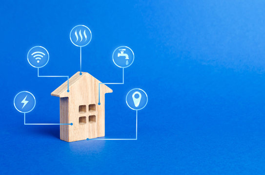 House figurine and public utilities symbols icons. Choosing a house to buy, assessing the cost and condition of the building, location in the city. Repair and renovation, maintenance services.