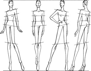 Vector set of different poses for drawing fashion illustrations. Template for sketches