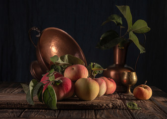 Fototapeta Classical still life with organic natural apples and vintage cooper decoration on old rustic wooden background. obraz
