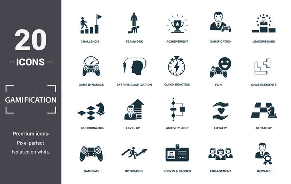 Gamification icon set. Contain filled flat game dynamics, achievement, game elements, points and badges, leaderboards, activity loop, level up icons. Editable format