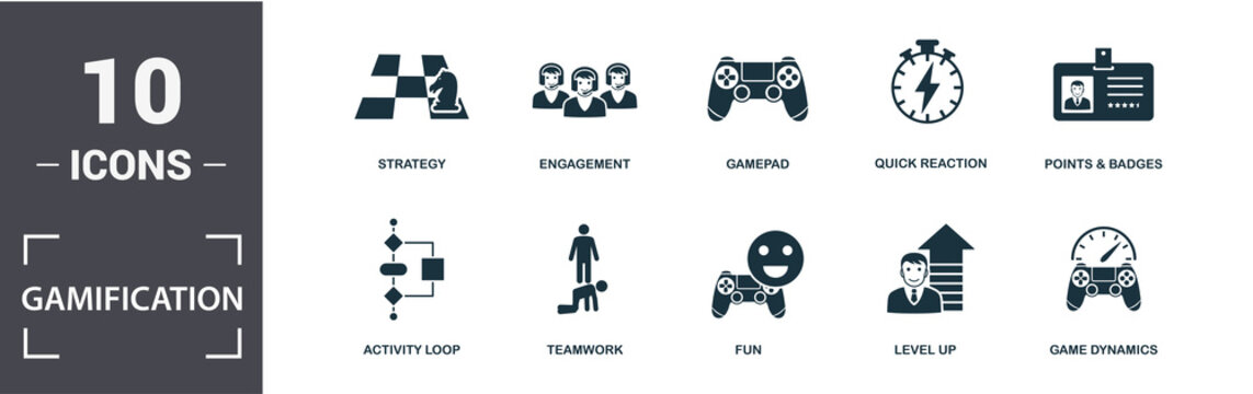 Gamification icon set. Contain filled flat game dynamics, engagement, gamepad, points and badges, activity loop, fun, teamwork, strategy icons. Editable format