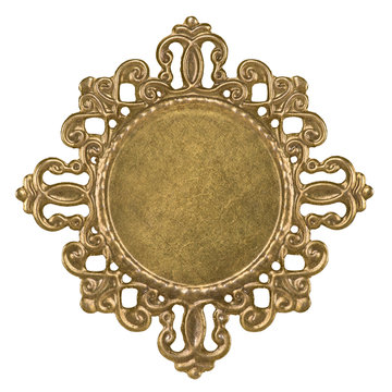 openwork basis for cabochon brooch made of brass isolated on white background closeup