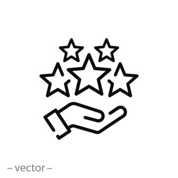 customer review icon, quality rating, feedback, five stars line symbol on white background - editable stroke vector illustration eps10