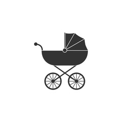 Baby, carriage, buggy, pram, stroller, wheel icon. Vector illustration, flat design.