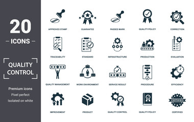 Quality Control icon set. Contain filled flat correction, efficiency, infrastructure, quality policy, traceability, production, guarantee icons. Editable format