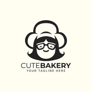 woman chef with hat logo for restaurant cafe cake bakery shop vector