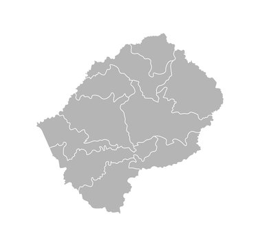 Vector isolated illustration of simplified administrative map of Lesotho. Borders of the districts (regions). Grey silhouettes. White outline