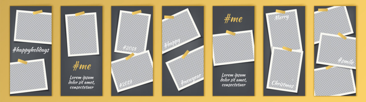 Story template kit for social media with bright gradient backgrounds. Set with empty photo frames. Mockup trendy concept set. Insta abstract editable banner pack. Instagram story backgrounds.