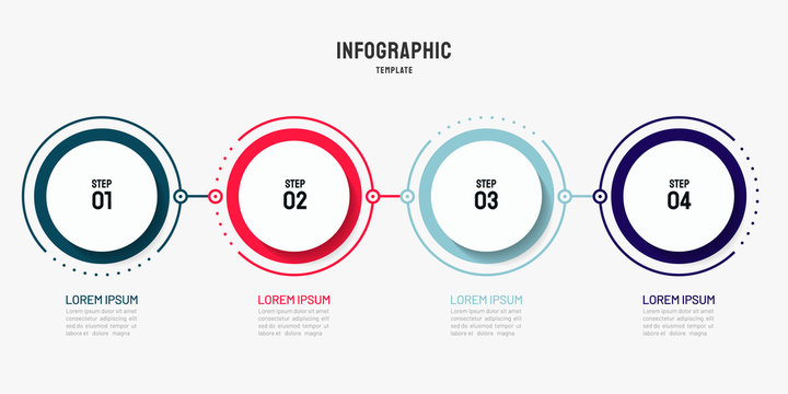 Timeline infographic design element and number options. Business concept with 4 steps. Can be used for workflow layout, diagram, annual report, web design. Vector business template for presentation.