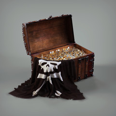 Old pirate chest with Golden coins. 3d illustration