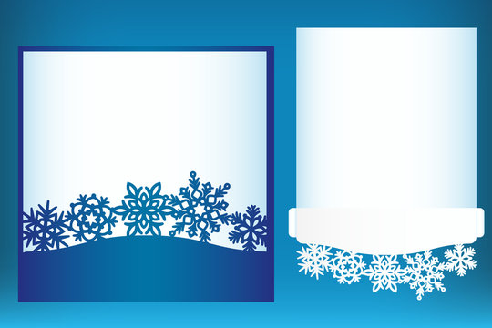 Laser cut Christmas card template with snowflakes. Invitation for Christmas party or greeting card pocket template. Image suitable for laser cutting, plotter cutting or printing.