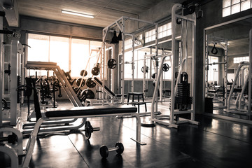 Foto auf Acrylglas Fitness Within gym with modern fitness equipment.