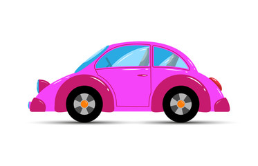 Children's toy. Kids car sedan pink in color.