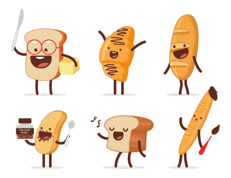 Cute bread characters vector cartoon set isolated on a white background.