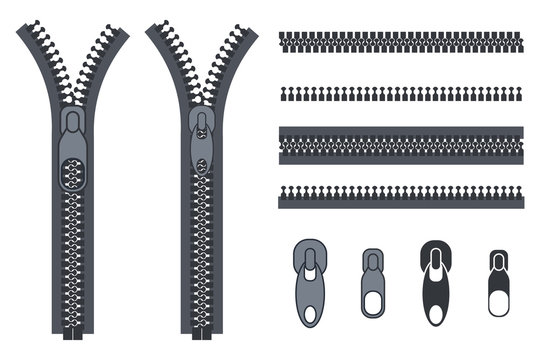 Zippers, fasteners and clasps vector cartoon elements set isolated on a white background.