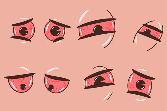 Drunk, weed, tired and sleepy cartoon eyes vector set isolated on background.