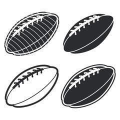 American football ball black silhouette vector icons set isolated on a white background.