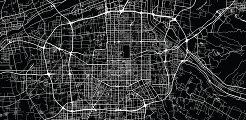 Urban vector city map of Xian, China