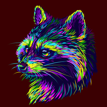 Raccoon. Abstract graphic multi-colored portrait of a raccoon on a dark brown background.