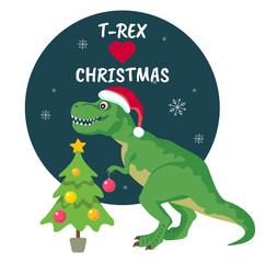 Tyrannosaurus Rex Christmas Card. Dinosaur in Santa hat decorates Christmas tree. Vector illustration of funny character in cartoon flat style.