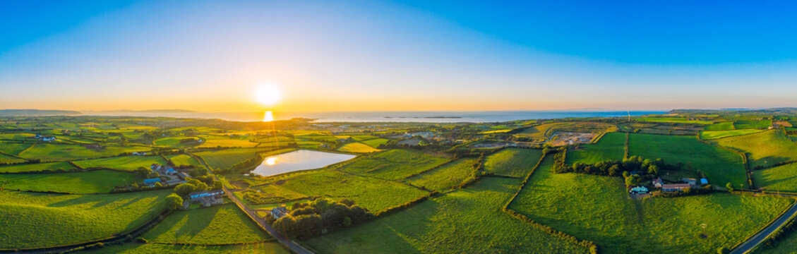 aerial panoramic view of summer countryside sunset,Northern Ireland