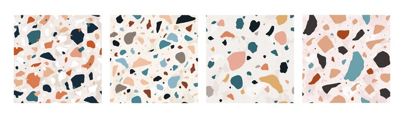 Collection of Terrazzo seamless patterns with colorful rock fragments. Set of backdrops with stone pieces or sprinkles. Bundle of rock textures. Vector illustration for wrapping paper, textile print. Wall mural