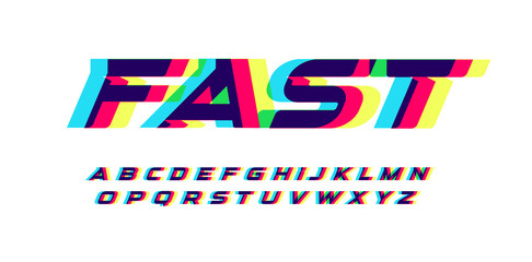 Fotomurales - Overprint letters and numbers set. Glowing red blue yellow spectrum effect style vector latin alphabet. Font for cyber sport, racing, automotive, logo and poster design. Typography design.