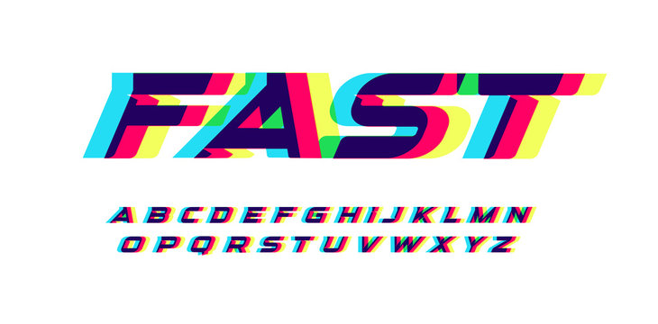 Overprint letters and numbers set. Glowing red blue yellow spectrum effect style vector latin alphabet. Font for cyber sport, racing, automotive, logo and poster design. Typography design.