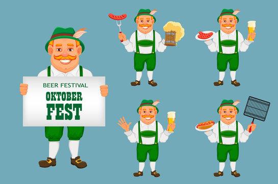 Oktoberfest, beer festival. Cheerful man