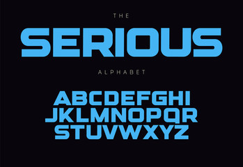 Fotomurales - Serious bold alphabet concept for headline, logo, monogram, promo. Geometric uppercase letters. Modern typography design.