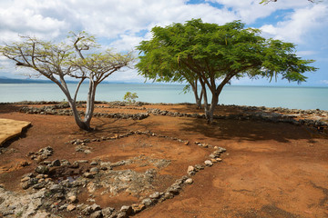 Ruins of La Isabella settlement in Puerto Plata, Dominican Republic. La Isabella was founded by Christopher Columbus in 1493.
