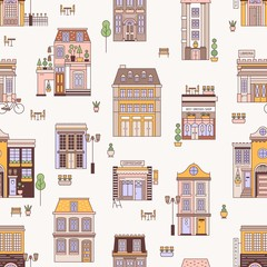 Fototapete - Seamless pattern with city buildings of elegant European architecture. Backdrop with residential houses and shops. Modern colorful vector illustration in linear style for wrapping paper, wallpaper.