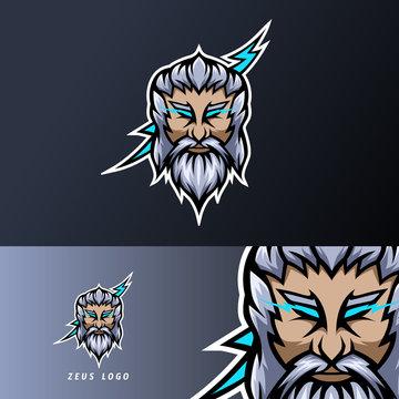 zeus god lightning mascot sport esport logo template thick beard mustache