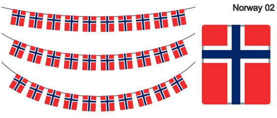 ノルウェーの国旗のガーラーンド ベクターデータ(bunting garland)