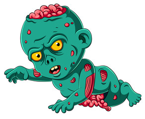 Scary baby zombie cartoon