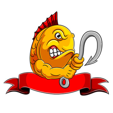 A angry fish holding fish hook