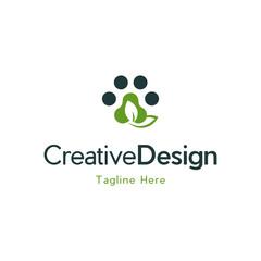 Paw Pet Green Leaf Creative Logo Design
