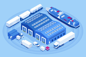 Isometric Industrial Warehouse Loading Dock. Truck with Semi Trailers Load Merchandise. Import export business logistic and transportation of international by container cargo