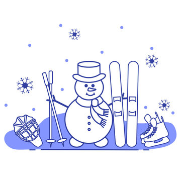 Snowman with ski and hockey equipment.