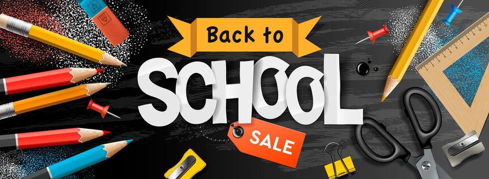 Back to school Sale horizontal banner, pencils and supplies on black chalkboard background, vector illustration.vector illustration.