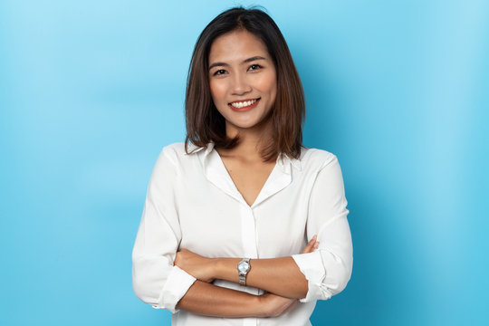portrait business woman asian on blue background