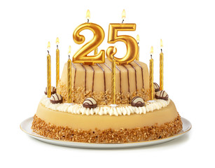Fototapeta Festliche Torte mit goldenen Kerzen - Nummer 25 obraz